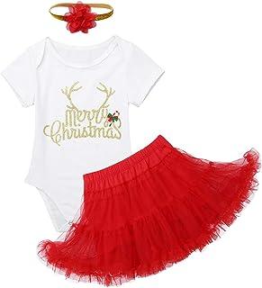 Freebily Baby Mädchen Kleidung Set Weihnachten Outfits Babybody Strampler  Tutu Rock  Stirnband Partykleid für 3-24 Monate