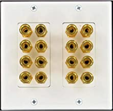 Speaker Wall Plate 16 Post for 8 Speakers and Color Coded for Home Theater System Dolby Audio Dolby Sound HDTV by Hookup.com. Our in Wall Speaker Wall Plates Provide an Easy Professional Clean Look.