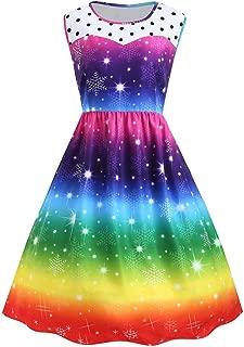 CHIDY Women's Sleeveless Rainbow Stripe Dress Polka Dot Stitching Skirt Snowflake Print Christmas Party Dress