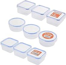 Lawazim BUN1006 9-Pieces Plastic Airtight Container Storage Box Set, multicolor