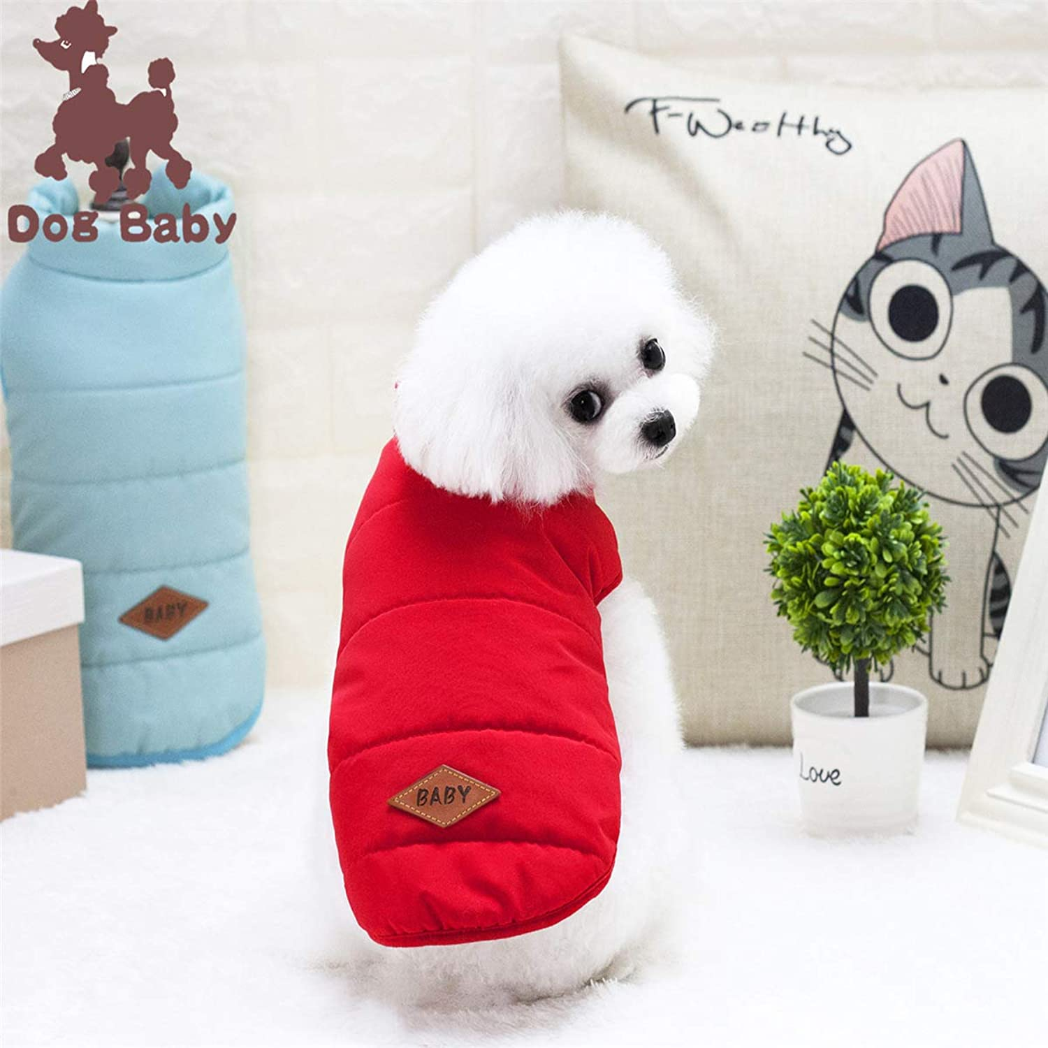 Ferza PetSuppliesMisc Pet dog clothes clothing autumn and winter new cotton vest thickening (color   Red, Size   L)