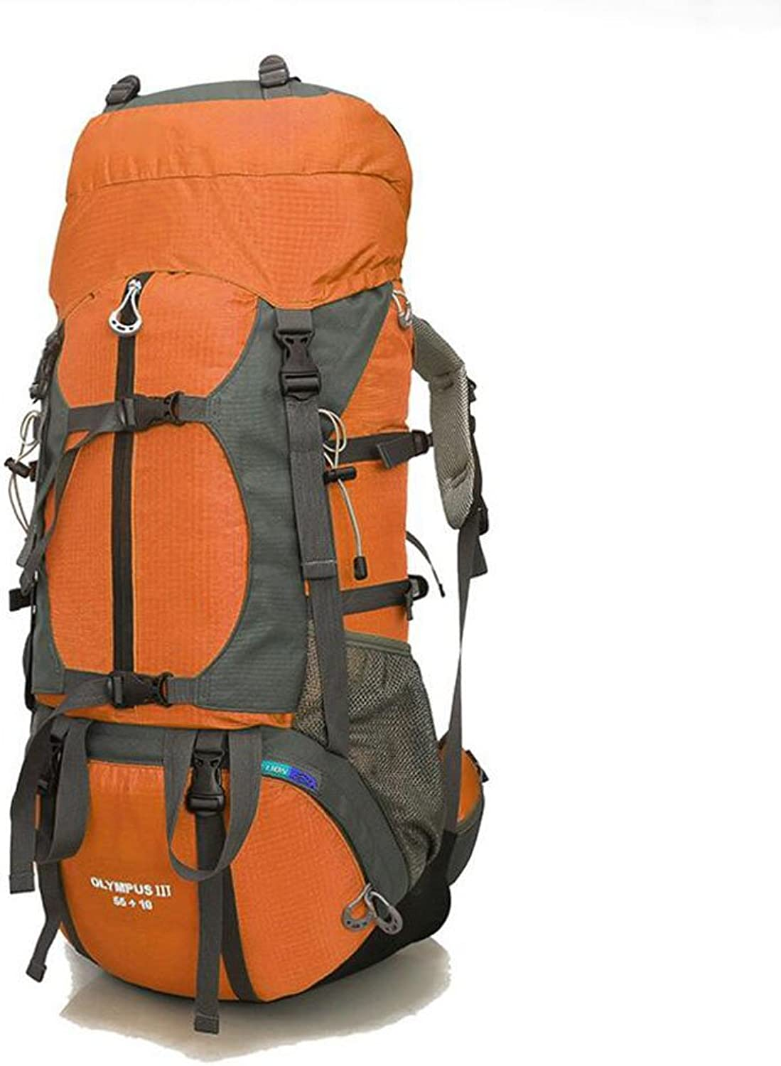 Outdoor Mountaineering Bag 65L Large Capacity Backpack Light can be Folded Travel Hiking Backpack Camping Travel Bag  Yellow (color   orange)