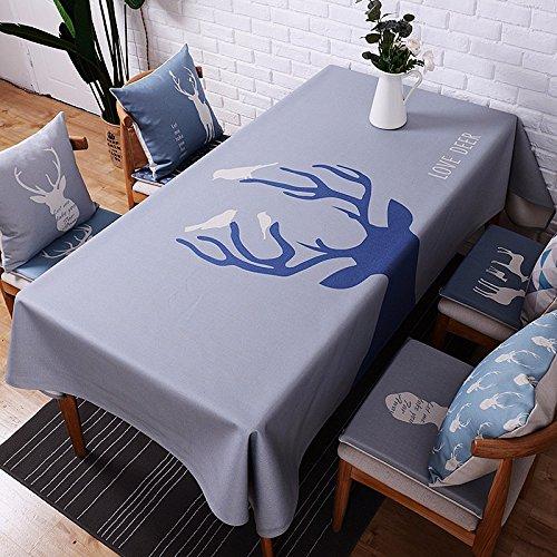 Bleu marine 85*85 cm Renne nordique scandinave moderne minimaliste INS Nappe en coton et lin à manger Bureau Jardin Rectangulaire carré Non-ironing respectueux de l'environnement chemin de table