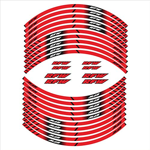 Etiquetas engomadas de la motocicleta Los calcomanías reflectantes de las etiquetas engomadas del cubo de la rueda son adecuados para Aprilia FRW (Color : Rojo)