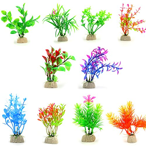 COMSUN 10 Pack Artificial Aquarium Plants, Small Size 4 to 4.5 inch Approximate Height Fish Tank Decorations Home Décor Plastic