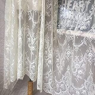 Ivory Lace Fabric Eyelash Chantilly Floral Bridal/Wedding Dress Flower African Lace Table Cloth DIY Crafts Scallop Trim Applique Ribbon Curtains 300cmx150cm ALE02 (Dark Ivory/Cream)