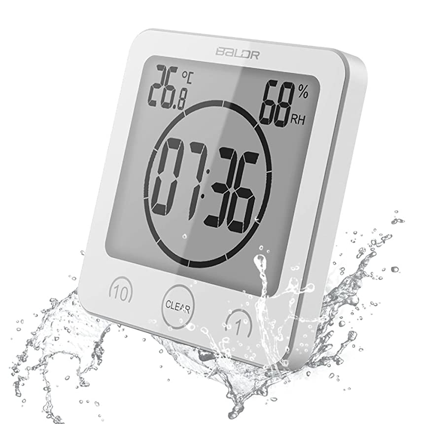 こどもの日出席背の高い【 a-mumu 】 デジタル温湿度計 [ 時計 タイマー 温度計 湿度計 熱中症 乾燥肌 インフルエンザ 風邪 ] 高精度 壁掛け穴 立掛け スタンド 吸盤付き 防水 風呂 浴室