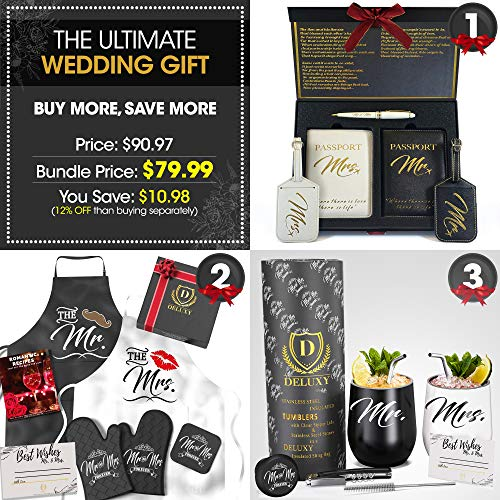 Mr & Mrs Wedding Gifts For Couple Bundle - The Ultimate Gift Set, Best Bridal Shower Gifts For Bride, Engagement Gifts For Couples- Wine Tumblers, Aprons, Luggage Tags Included