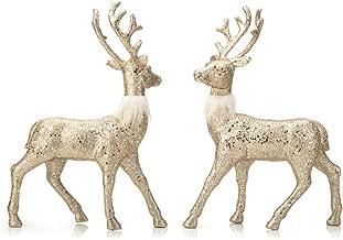 ARCCI Reindeer Decorations Standing Christmas Figurines Deer, Gold Glitter Holiday Reindeer (Golden)