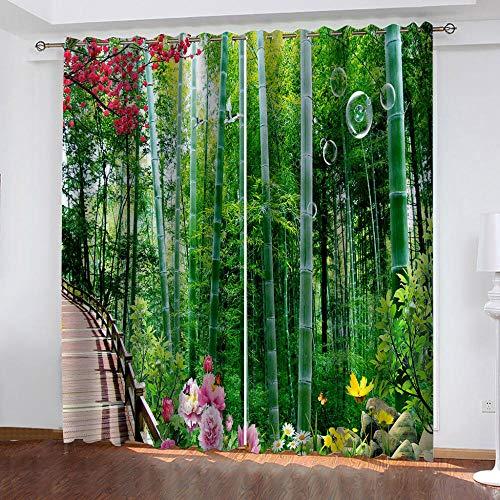 Qsmhht Cortinas Opacas Modernas Bosque Verde y de bambú Cortinas Salón Opacas Aislantes Térmicas con Ojales 2x70x180cm 2 Piezas