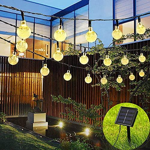 moopok Solar String Lights, 22Ft 50LED Waterproof Crystal Ball LED Outdoor Fairy Lights Solar Powered, Solar Garden Lights for Garden, Patio, Yard, Christmas, Parties (Warm White) Solar Powered Light