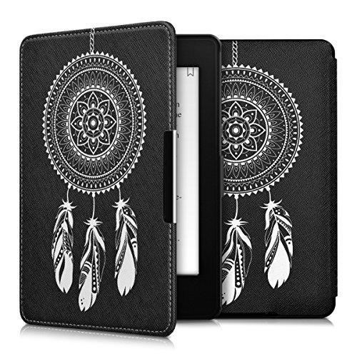 kwmobile Hülle kompatibel mit Amazon Kindle Paperwhite - Kunstleder eReader Schutzhülle (für Modelle bis 2017) - Mandala Traumfänger Weiß Schwarz
