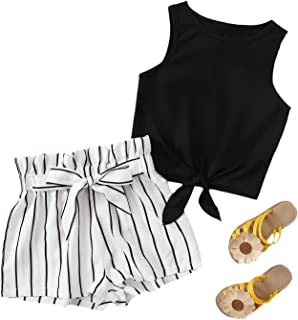 Romwe Girls 2 Piece Outfit Tie Knot Tank Tops and Striped Paperbag Waist Shorts Set