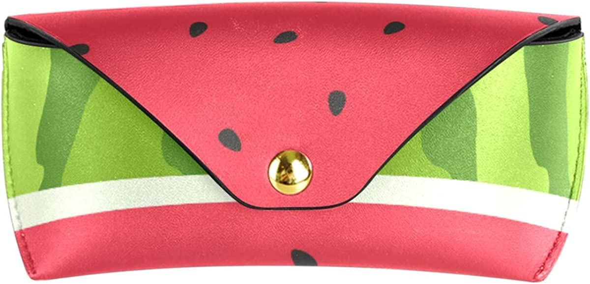 Multiuse Holder Fruit Watermelon Slice Red Green Portable Sunglasses Case Eyeglasses Pouch PU Leather Goggles Bag