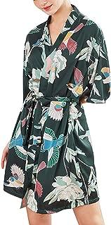 Silk Stain Mesh Nightdress for Women's Trim Robe Belt Sexy Half Sleeve Plus Size Bathrobe Sleepwear Gown