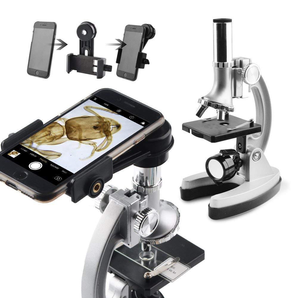 set di accessori e pratico contenitore case- con adattatore per smartphone Gosky Kids set microscopio ingrandimenti con braccio e base in metallo 300/x 600/x 1200/x include 70PCS