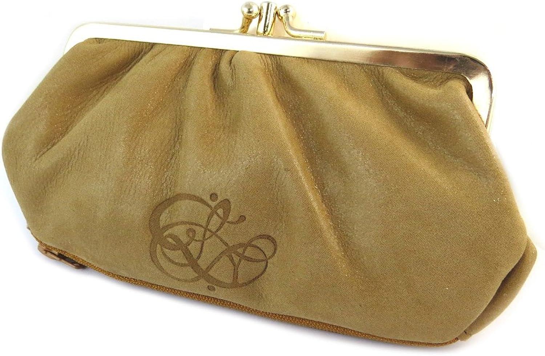 Les Trésors De Lily [N9031]  Sequined leather purse 'Les Trésors De Lily' amber (3 compartments) 17.5x10x4 cm (6.89''x3.94''x1.57'').