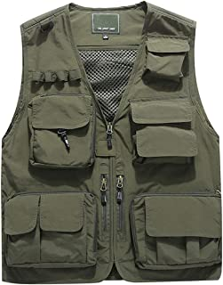 Jenkoon Men's Work Multi-Pockets Lightweight Outdoor Travel Fishing Vest