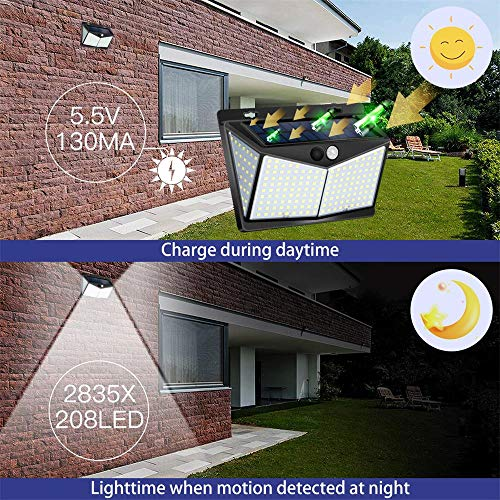 Solar Lights Outdoor 208 LED ,Solar Motion Lights Outdoor,3 Optional Modes Wireless Motion Sensor Light with 270°Wide Angle, IP65 Waterproof, Easy-to-Install Garden, Front Door, Yard, Garage-2Pack