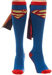 Superman Red & Yellow Logo Blue Knee High Socks with Red Shiny Cape Size 9-11