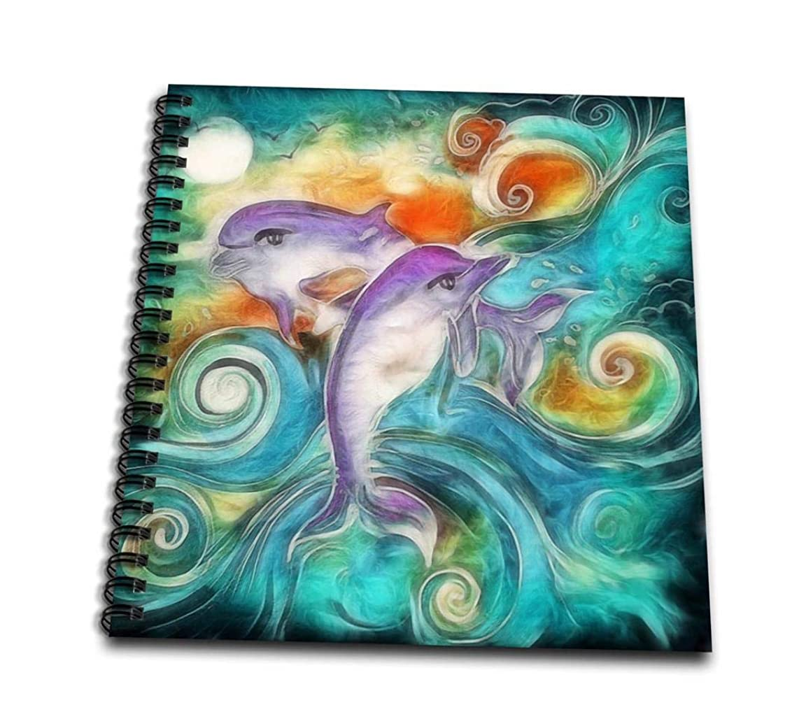 3dRose db_116230_1 Cute Happy Purple Dolphins Swimming in The Ocean Digital Animal Nature Art-Drawing Book, 8 by 8-Inch