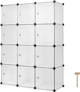 Homfa Armoire Etagère à Chaussures Cube de Rangement Porte Chaussures de 12 Cubes Plastique DIY pour Entrée Chambre Salon ...