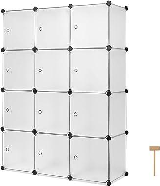 Homfa Armoire Etagère à Chaussures Cube de Rangement Porte Chaussures de 12 Cubes Plastique DIY pour Entrée Chambre Salon 110
