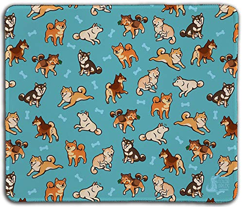 """Inked Playmats Shibas Blue PC – Gaming Mouse Pad 13x11"""" Stitched Edge (13+)"""