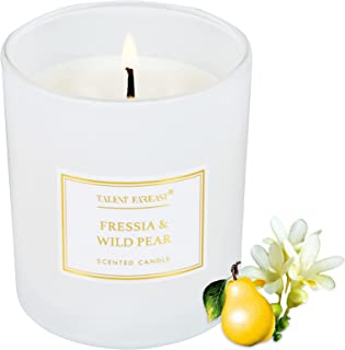 TALENT FAREAST Freesia + Wild Pear Mini Jar Candle Scented for Home 4.8oz. Relaxing Aromatherapy Candles 25 Hour Soy Wax G...