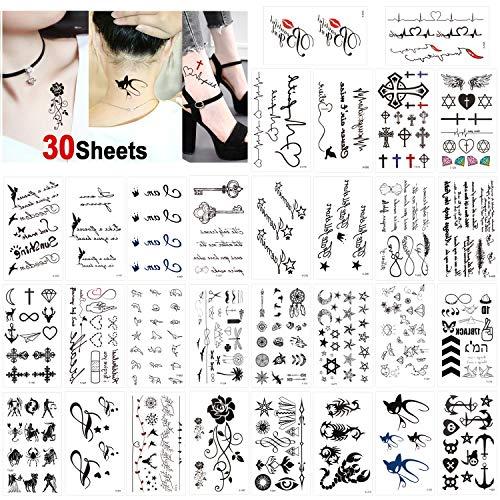 Konsait Tätowierung Wasserdichtes schwarz Temporäre Tattoos Kleine Körperkunst Aufkleber Arm Tattoos für männer Frauen Handhals Handgelenk (30 Blätter)