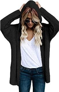 Happy Sailed Women Long Sleeve Oversized Open Front Fuzzy Fleece Coat Jacket Warm Hooded Cardigan S-XXL