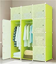 Lukzer 12 Cube Portable Waterproof Wardrobe Storage Rack Closet for Hanging Clothes Cabinet Ideal Storage Organizer Cube for Books, Toys, Towels 140 x 105 x 35cm (Green &White)