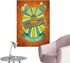 Anzhutwelve Fiesta Photo Wall Paper Latin America Culture Inspired Ethnic Sombrero and Cactuses WornOrange Seafoam Yellow Green W24 xL32 Poster Paper