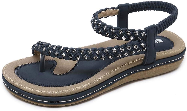 Women's Crystal Elastic Strap Toe Ring Sandal Flip Flops, Bohemia Summer Beach Ankle Strap Flat Casual Sandals