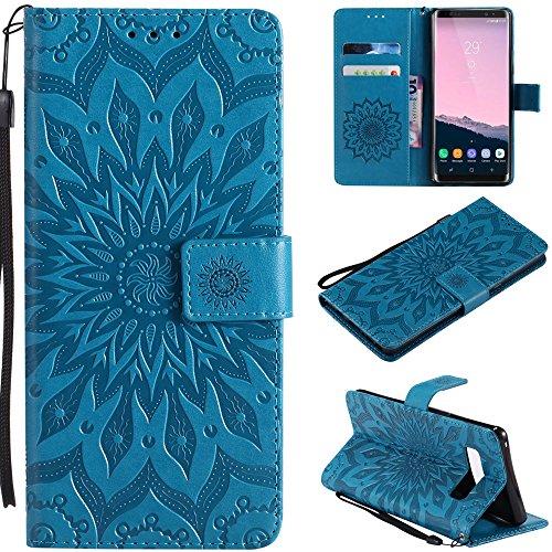 Ooboom® Motorola Moto E5 Plus Hülle Sonnenblume Muster Flip PU Leder Schutzhülle Handy Tasche Hülle Cover Stand mit Kartenfach für Motorola Moto E5 Plus - Blau