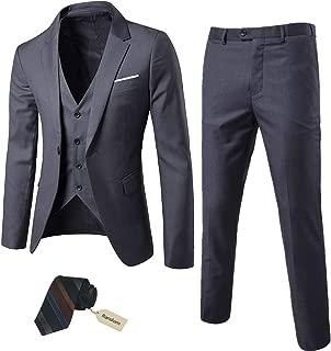 Men's 3 Piece Slim Fit Suit Set, One Button Blazer Jacket Vest Pants with Tie, Solid..