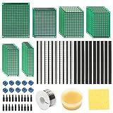 76Piezas PCB Prototipo Kit,5 Tamaño 23 Doble Cara Soldar Circuitos Placa,10Piezas 2.54mm Conector de Cabeza Macho Hembra y 5mm Bloque de Terminales para DIY