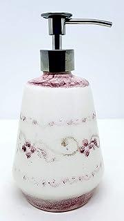 Dosatore Linea Fiori Rosa Effetto Sabbiato Ceramica Realizzato e dipinto a mano Le Ceramiche del Castello Made in Italy