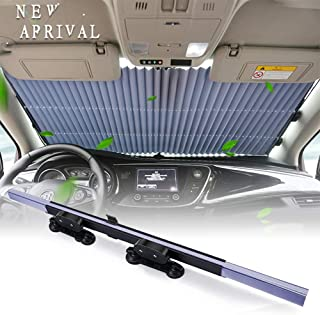 KINGMAZI Car Windshield Sun Shade, Retractable Sun Shade, Easy to Install and Use, Universal Sunshade to Keep Your Vehicle Cool and Damage Free, UV Sun Shade
