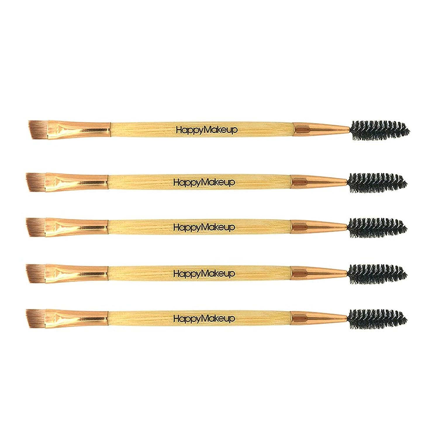 多用途脱獄理容師CUTICATE 木製ハンドル デュアルヘッド メイクまつ毛コーム まつげブラシ まつ毛コーム 全3色 - ゴールド