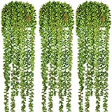 3pcs Artificial Succulents Hanging Plants Artificial Fake Hanging Plant String of Pearls for Wall Home Garden Decor
