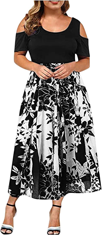 NLLSHGJ Women Plus Size Casual Round Neck Strapless Hollow Short Sleeve Printing Dress