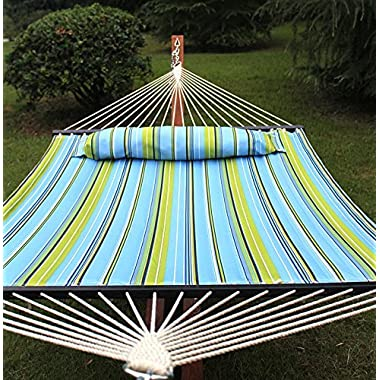 SUPER DEAL  Upgraded Quilted Fabric Hammock with Pillow, Double Hammock with Wood Spreader Bars, Perfect for Outdoor Patio Yard, Green Stripes