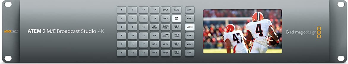 Blackmagic Design ATEM 2 M/E Broadcast Studio 4K Switcher, 20 x 12G-SDI Re-Synchronized Inputs