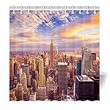 YISUMEI Hem Gewichte Vorhang Duschvorhang Mode Duschvorhänge 180x200 cm New York Dämmerung