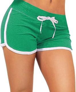 ZITY Summer Sports Shorts Gym Workout Waistband Skinny Shorts Pants (Green,XL)