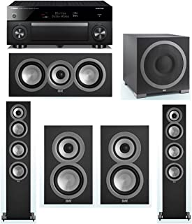 ELAC Uni-Fi 5.1 System with 2 ELAC UF5 Floorstanding Speakers, 1 ELAC UC5 Center Speaker, 2 ELAC UB5 Speaker, 1 ELAC Debut S12EQ Powered Subwoofer, 1 Yamaha RX-A1070 A/V Receiver