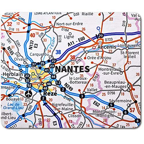 """Tapis de souris rectangle - Nantes City France France Voyage Carte 23.5 x 19.6cm (9.3 x 7.7"""") pour ordinateur et ordinateur portable, bureau, base antidérapante #45825"""