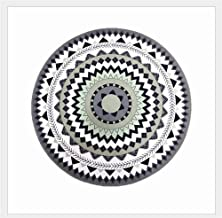 Black and White Geometric Carpet Living Room Bedroom Round Rugs Bath Mat Washable Soft mat (Size : 80 * 80cm)