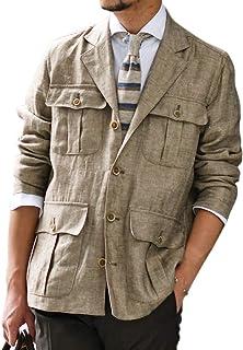 [Finamore【フィナモレ】]サファリシャツジャケット GRANT P2041 04 リネン ブラウン